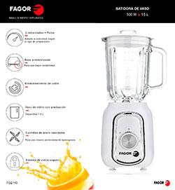 Batidora de vaso ECCOMIX 500 cocina, batidoras-de-vaso FG2140 BATIDORA DE VASO ESPANOL |  FAGOR SDA Electrodomésticos Pequeños