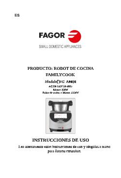 Robot de cocina FAMILY COOK robots-de-cocina FGA0008 Manual de instrucciones  robot de cocina Familycook pdf |  FAGOR SDA Electrodomésticos Pequeños
