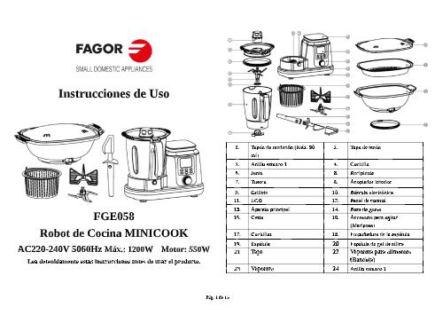 Robot de cocina MINICOOK robots-de-cocina FGE058 Manual de instrucciones Robot de cocina minicook pdf |  FAGOR SDA Electrodomésticos Pequeños